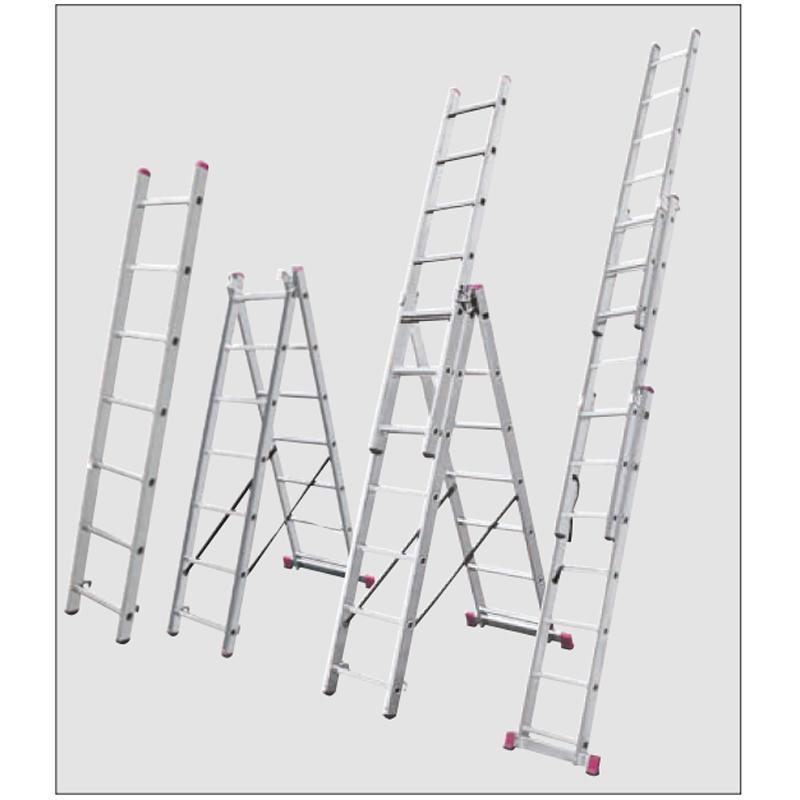 Scara multifunctionala din aluminiu Corda cu functie de egalizare, 3x7 trepte