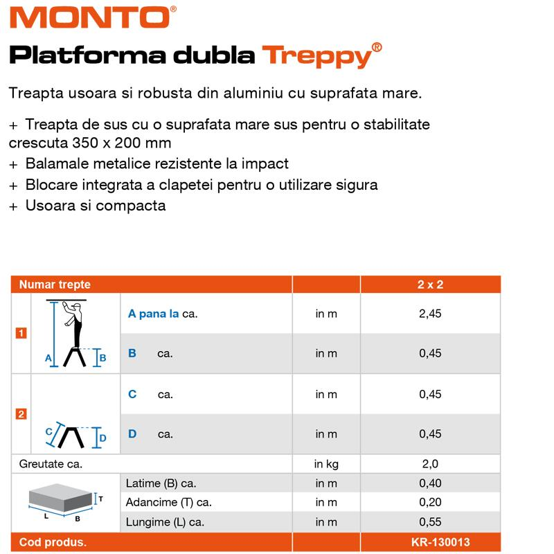 Scara Monto Treppy dubla 2x2 trepte