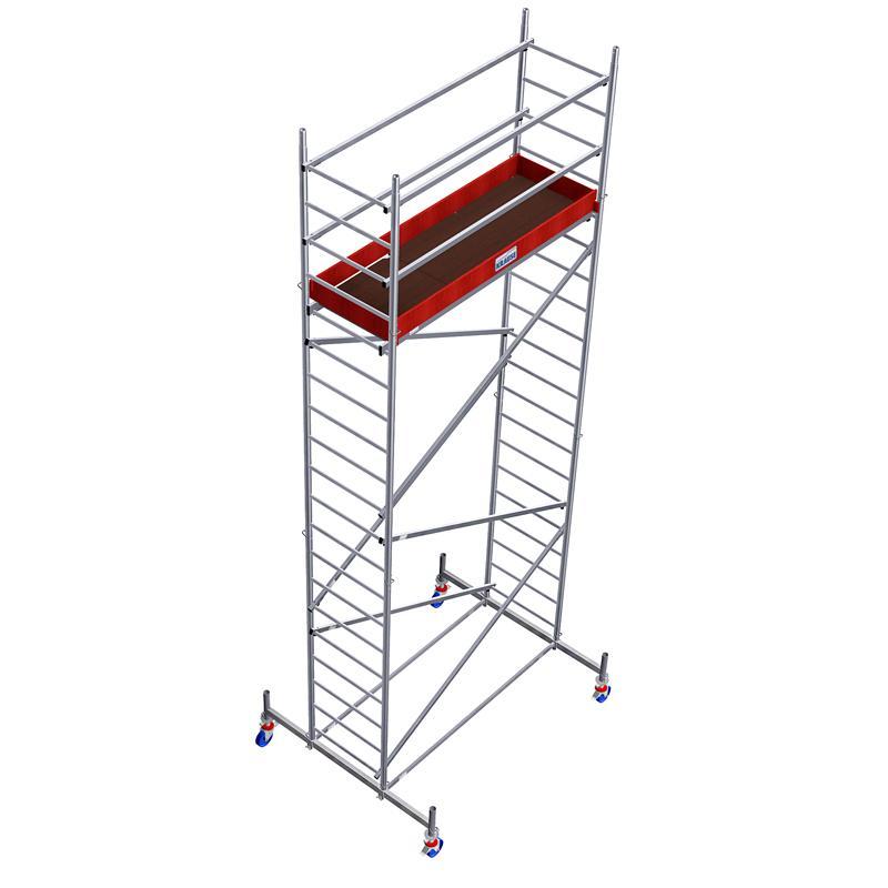 Schela Protec 0,6 x 2m, aluminiu, inaltime lucru 5,3m (0+1+Roti)