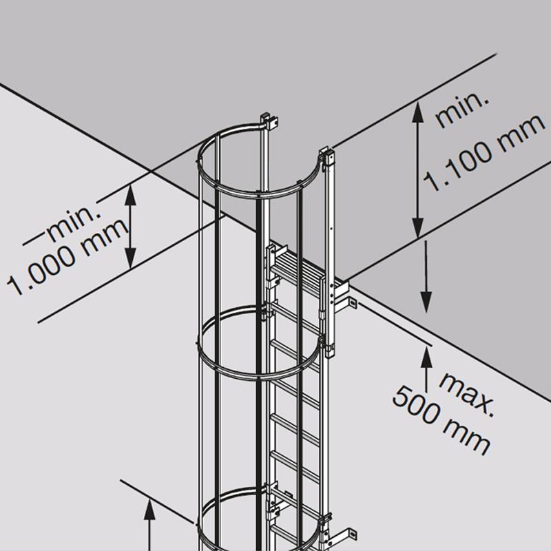 Scara KRAUSE de acces / evacuare / incendiu, aluminiu, 5,60 m