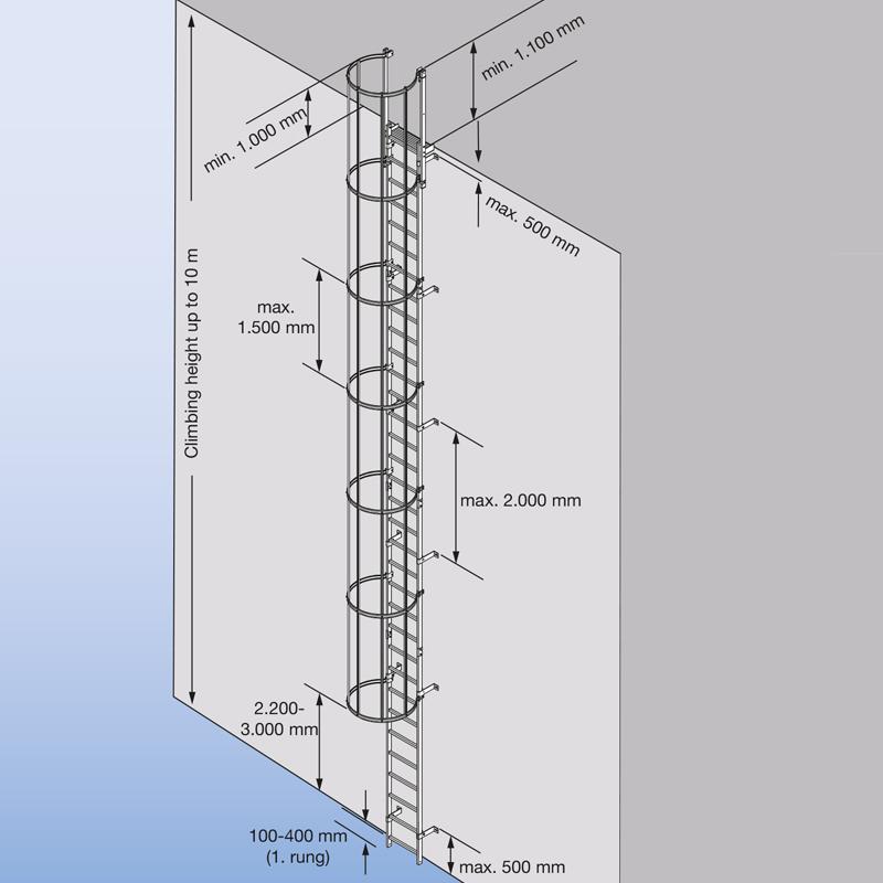Scara KRAUSE de acces / evacuare / incendiu, otel zincat, 7,28 m