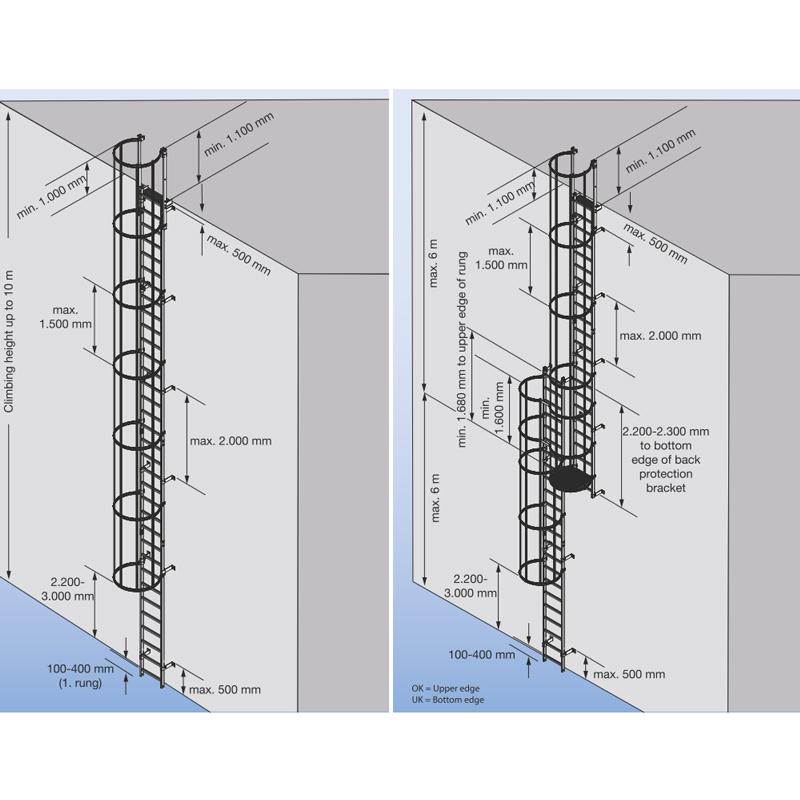 Scara KRAUSE de acces / evacuare / incendiu, otel zincat, 18,76 m