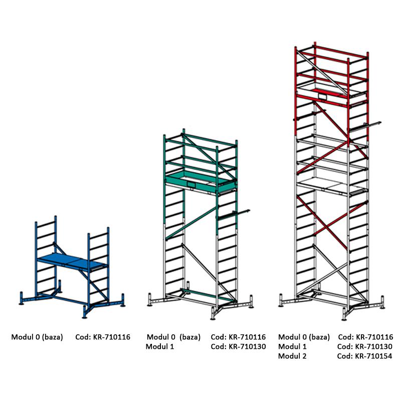 Schela Climtec 0,6 x 1.5m, aluminiu, inaltime lucru 5 m, modul 0+1