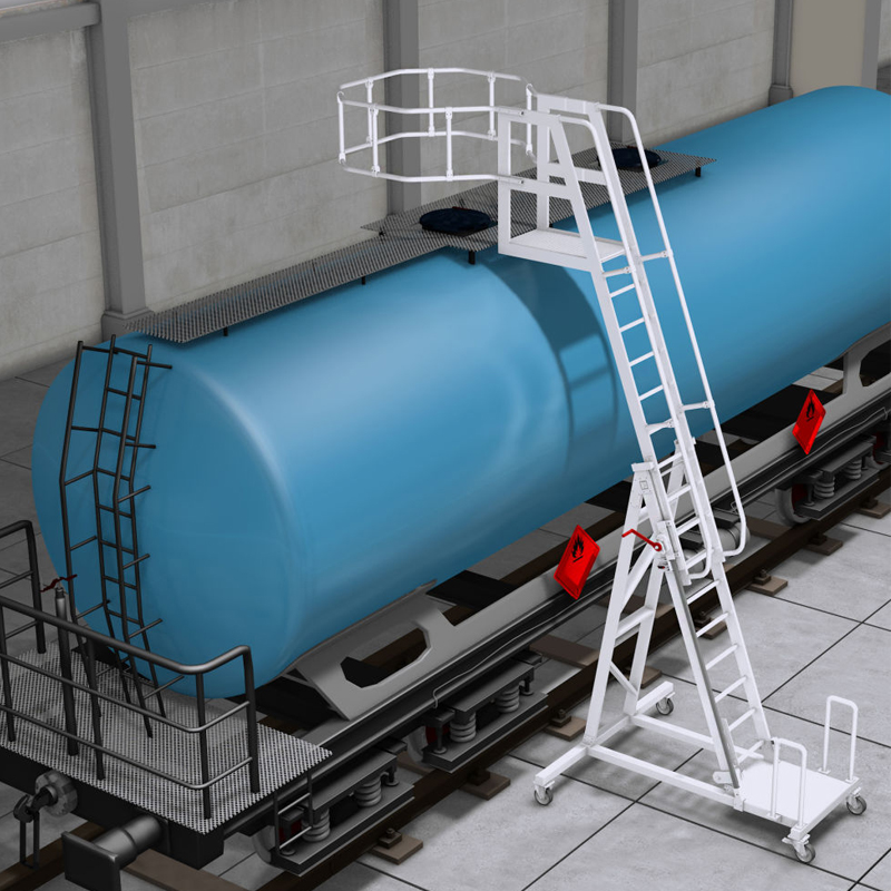Scara pentru cisterne, STABILO, cos rotund, roti cauciuc, aluminiu tip gratar