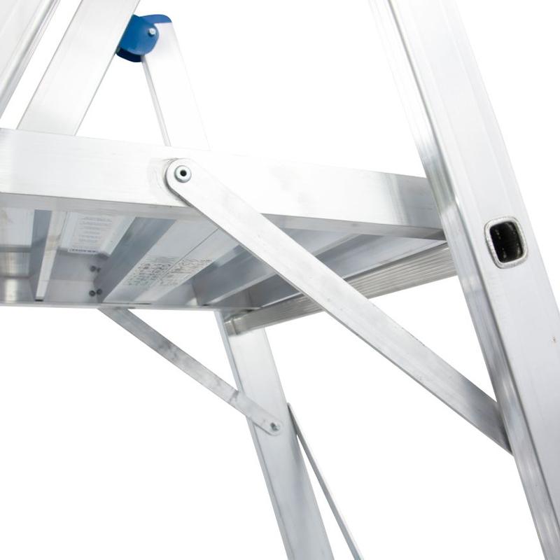 Scara STABILO mobila cu platforma mare, dubla cu trepte pe o parte, 7 trepte