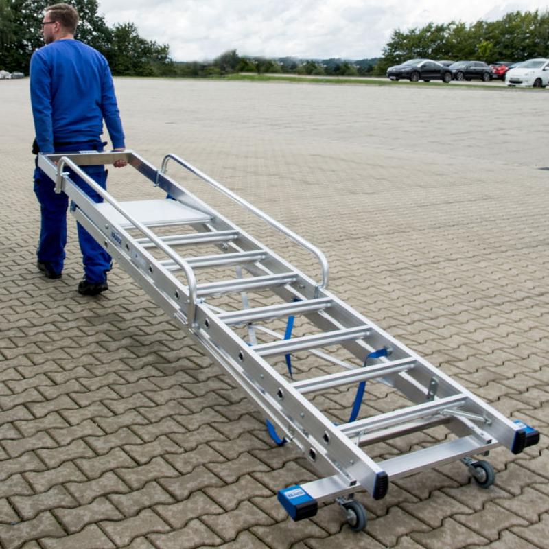 Scara STABILO mobila cu platforma mare, dubla cu trepte pe o parte, 12 trepte