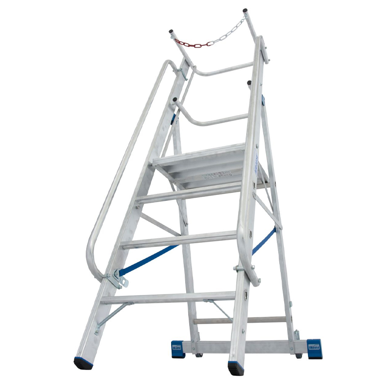 Scara STABILO mobila cu lant de siguranta, dubla cu trepte pe o parte, 4 trepte