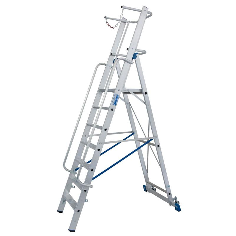 Scara STABILO mobila cu lant de siguranta, dubla cu trepte pe o parte, 7 trepte
