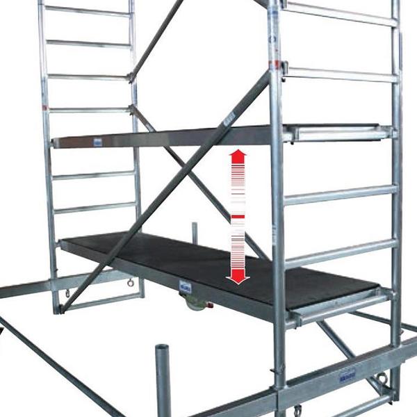 Schela mobila Stabilo S10 0,75 x 2.5m, aluminiu, inaltime lucru 14,4m