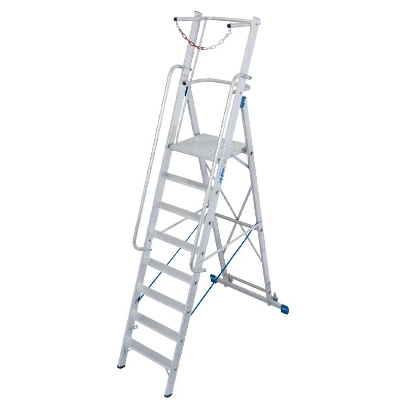 Scara STABILO mobila cu lant de siguranta, dubla cu trepte pe o parte, 8 trepte