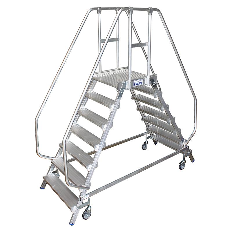 Scara cu podest mobila, cu trepte pe 2 parti (2x7 trepte)
