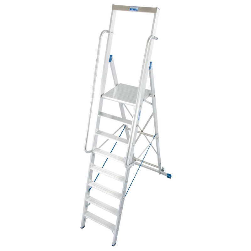 Scara STABILO mobila cu platforma mare, dubla cu trepte pe o parte, 8 trepte