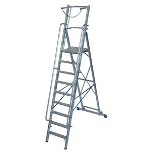 Scara STABILO mobila cu lant de siguranta, dubla cu trepte pe o parte, 9 trepte