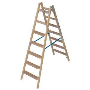 Scara de lemn cu trepte late, 2x7 trepte