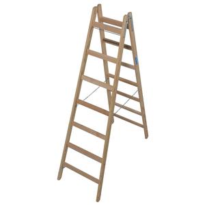Scara de lemn dubla cu trepte pe ambele parti, 2x7 trepte