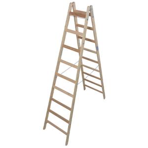 Scara de lemn dubla cu trepte pe ambele parti, 2x9 trepte