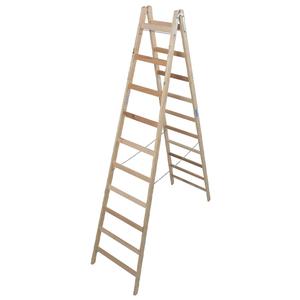 Scara de lemn dubla cu trepte pe ambele parti, 2x10 trepte