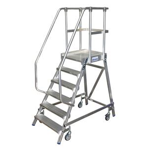Scara cu podest mobila, cu trepte pe o parte (6 trepte)