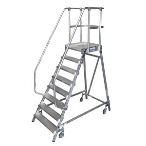 Scara cu podest mobila, cu trepte pe o parte (8 trepte)