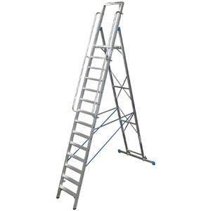 Scara STABILO mobila cu platforma mare, dubla cu trepte pe o parte, 14 trepte